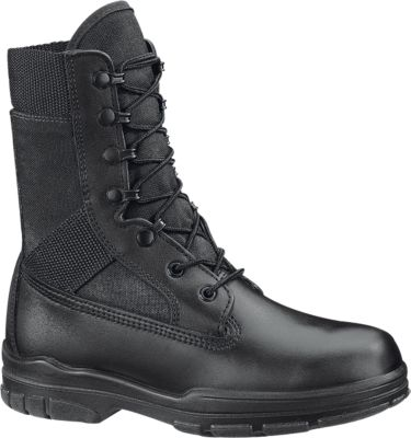 black combat boot laced up